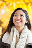 Young Asian woman outdoor autumn portrait Royalty Free Stock Images