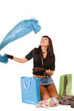 Young asian woman over shopping bag Royalty Free Stock Image