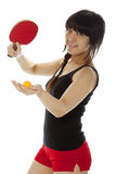Young Asian woman palying ping-pong Stock Images