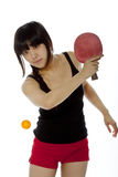 Young Asian Woman Palying Ping-pong Stock Photo