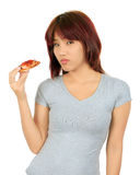 Young asian woman with a piece of pizza Royalty Free Stock Photos