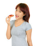 Young asian woman with a piece of pizza Royalty Free Stock Image