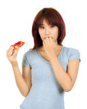 Young asian woman with a piece of pizza Stock Photos