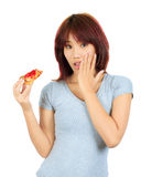 Young asian woman with a piece of pizza Stock Photo
