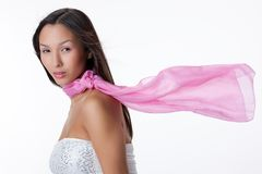 Young Asian Woman With a Pink Scarf Royalty Free Stock Photography