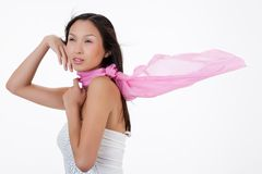 Young Asian Woman With a Pink Scarf Stock Images