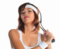 Young asian woman playing badminton Stock Image
