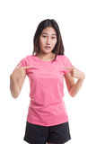 Young Asian woman point at herself ask why me Stock Photography