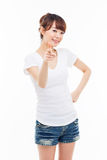 Young Asian woman pointing you Stock Photo