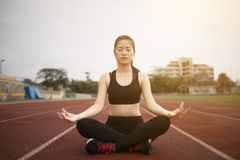 Young asian woman practice yoga Stock Images