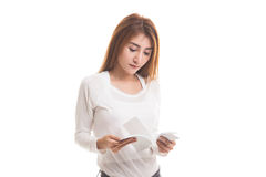 Young Asian woman read a book. Royalty Free Stock Image