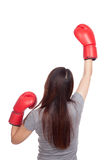 Young Asian woman with red boxing glove Stock Photography