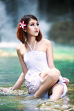 Young asian woman relaxing Royalty Free Stock Photos