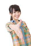 Young asian woman shaking hands Stock Image
