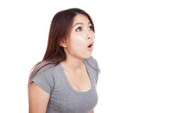 Young Asian woman shocked and look up Stock Images