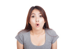 Young Asian woman shocked and look up Royalty Free Stock Image