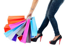 Young asian woman with shopping bags Royalty Free Stock Photography