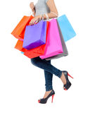Young asian woman with shopping bags Royalty Free Stock Images