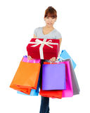 Young asian woman with shopping bags Royalty Free Stock Photos