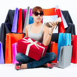 Young Asian Woman with Shopping Bags Royalty Free Stock Photo