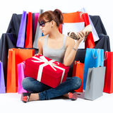 Young Asian Woman with Shopping Bags Stock Images