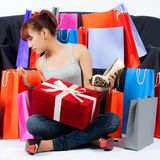 Young Asian woman with Shopping Bags and a new Shoes Stock Photo