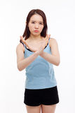 Young Asian woman show prohibit sign Royalty Free Stock Photo