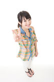 Young asian woman showing the peace or victory hand sign. Cute young asian woman showing the peace or victory hand sign. Isolated on the white background Stock Photography