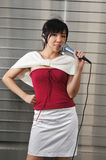Young Asian Woman Singing Royalty Free Stock Photography