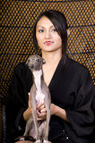Young Asian Woman Sitting in Chair with Dog Royalty Free Stock Image