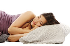 Young asian woman sleeping Stock Photo