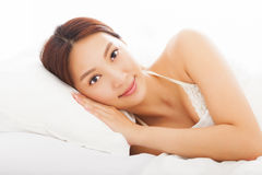 Young  asian woman sleeping in the bed. Beautiful young  asian woman sleeping in the bed Stock Photo