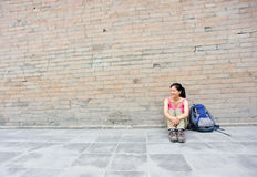 Young asian woman at small wild goose pagoda Royalty Free Stock Images