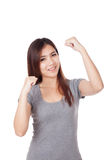 Young Asian woman smile and hands up Stock Photos
