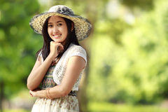 Young asian woman smiling outdoor Royalty Free Stock Photography