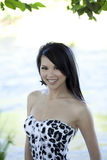 Young asian woman smiling outdoor portrait river Stock Image