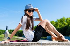 Young Asian woman smiling in the park Stock Photography