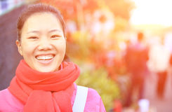 Young asian woman on street Royalty Free Stock Photos