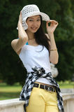Young Asian woman with a summer hat. Stock Image