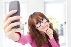 Young asian woman taking picture Royalty Free Stock Photo