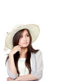 Young asian woman thinking and looking up to copy space Stock Images