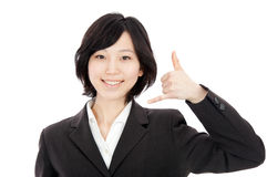 Young asian woman to imitate hand-Phone Stock Photo