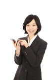 Young asian woman touch smartphone Royalty Free Stock Photo