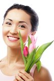 Young asian woman with tulips Stock Photos