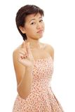 Young asian woman is upset Stock Photography