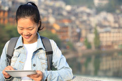 Young asian woman use tablet pc Stock Images