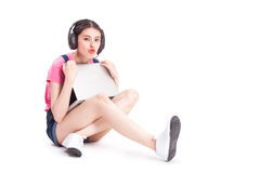 Young asian woman using a compute Stock Photos