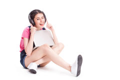 Young asian woman using a compute Stock Photography