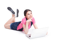Young asian woman using a compute Royalty Free Stock Images