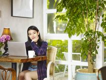 Young asian woman using laptop computer Royalty Free Stock Photo